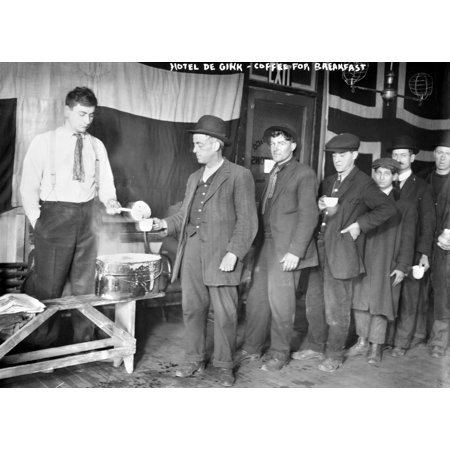 New York Lodging House Nunemployed Men Being Served Coffee For Breakfast At The Hotel De Gink A Lodging House In New York City Photographed C1916 Rolled Canvas Art     18 X 24