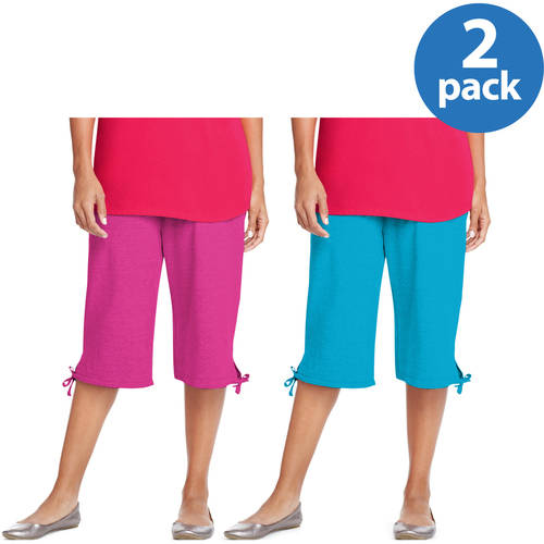 Just My Size by Hanes Women's Plus-Size French Terry Capri Pants 2 Pack Value Bundle
