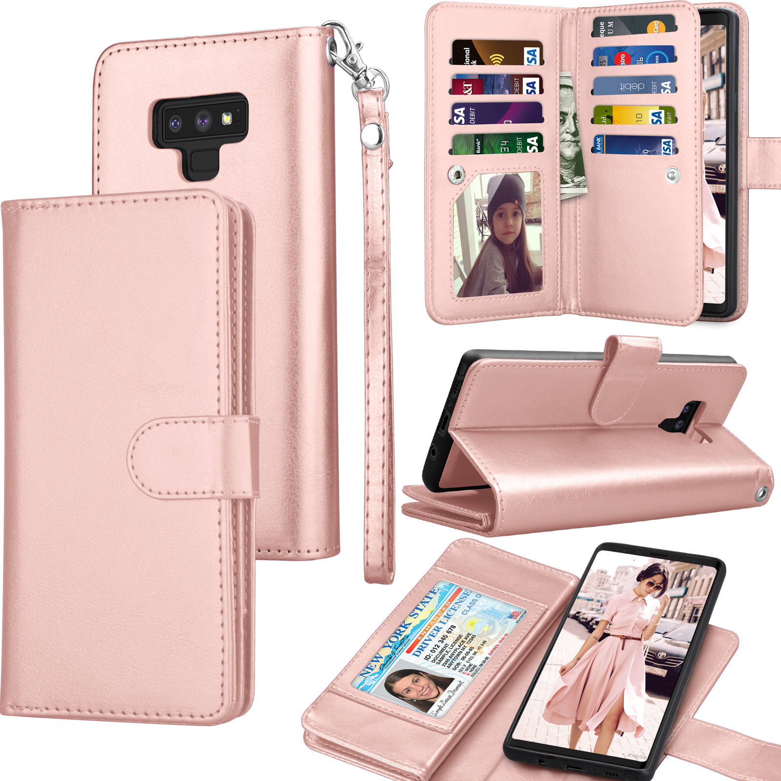 Tekcoo For Galaxy Note 9 Case, Tekcoo For Samsung Note 9 Wallet Case, PU Leather ID Cash Credit Card Slots Holder Carrying Folio Flip Cover [Detachable Magnetic Hard Case] & Kickstand - Rose Gold