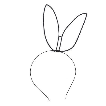 Lux Accessories Black Rhinestone Tilted Side Bunny Ears Headband (Bunny Headbands)