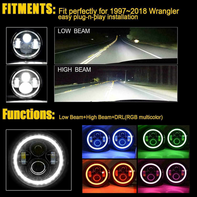 2Pcs Wrangler 7inch LED Headlights with Halo Daytime Running Light DRL Turn Signal High Low Beam for Wrangler JK TJ LJ 1997-2019 Red Halo