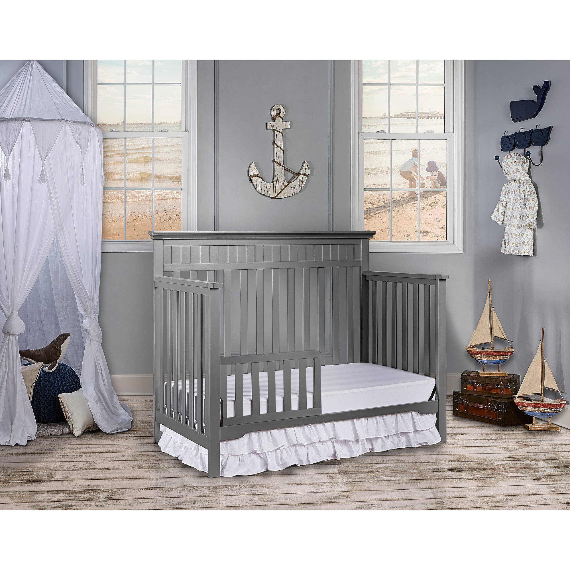 5 Cool Cribs That Convert To Full Beds: 5-In-1 Convertible Crib Baby Toddler Fixed Side Rails