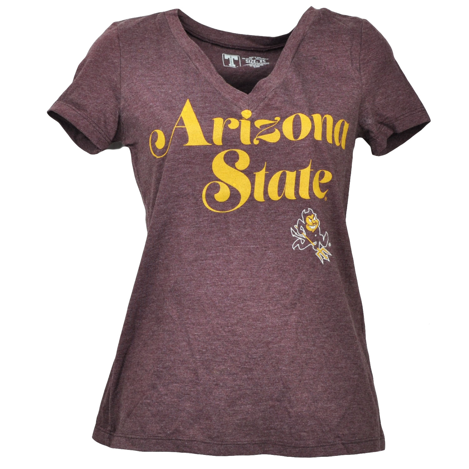 NCAA Arizona State Sun Devils V Neck Burgundy Tshirt Womens Short Sleeve Medium