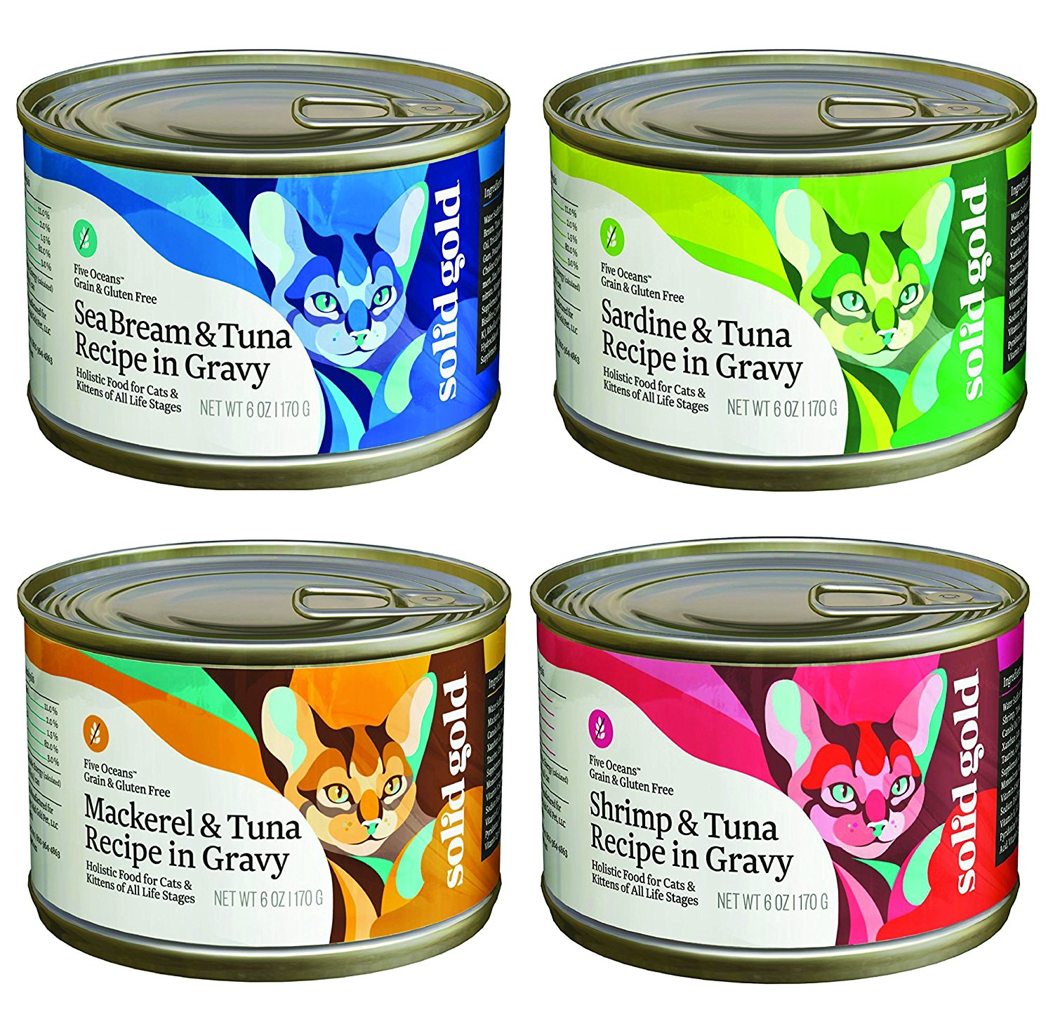Solid Gold Canned Cat Food Mixed 6 oz x 12 cans (4 Flavor...