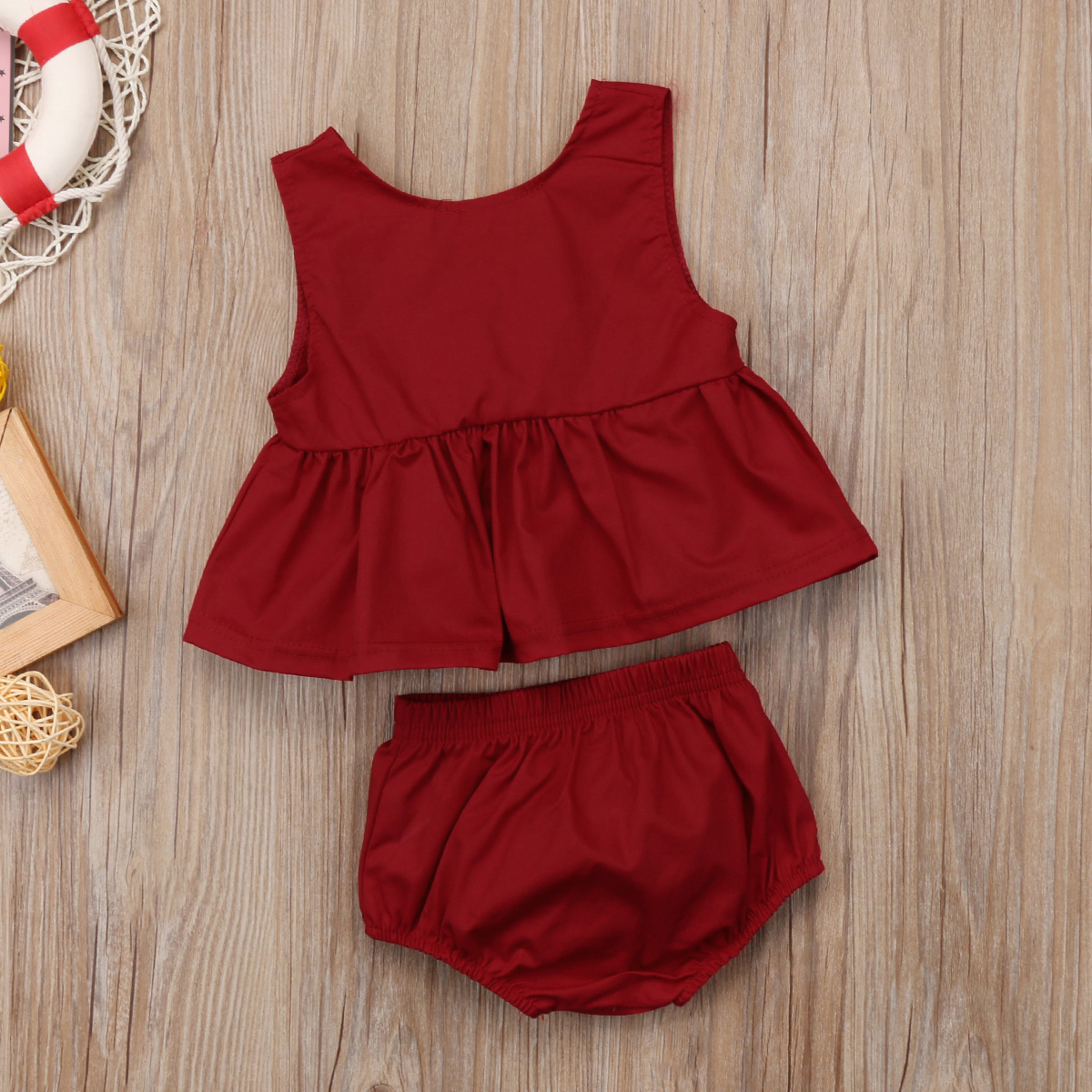 11d77cfdc3ed4 Toddler Baby Girl Claret-Red Sleeveless Vest Tops T-Shirt Dress + Wine Red  Shorts Outfit Ruffle Homewear Clothes