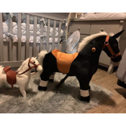 Uenjoy Riding Horse for Kids, Ride on Horse Toy, Pony Rider Mechanical Cycle Walking Action Plush Animal for 3 to 5 Years, No Battery or Electricity, Giddy up, Max Load 132LBS, Small Size, Black