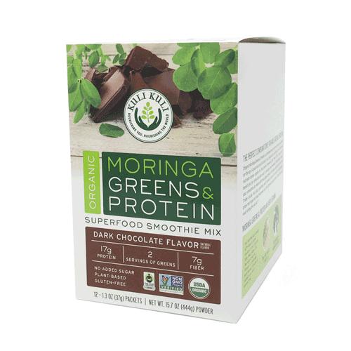 Kuli Kuli Organic Moringa Greens & Protein Powder, Chocolate, 12 Ct