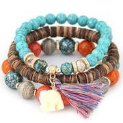 Christmas Clearance! Women Wood Beads Bracelets Boho Small Elephant Charm Bracelets Set Vintage Style Jewelry GlSTE