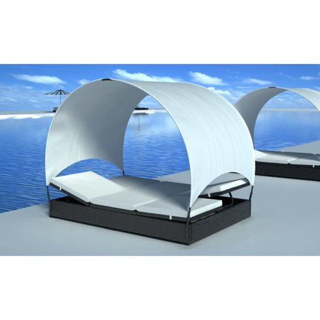 Double Sun Lounger with Canopy Poly Rattan Black ()