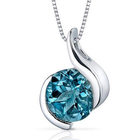 Swirl Blue Topaz Pendant (2.25 Carat Round-Shape London Blue Topaz Rhodium over Sterling Silver Pendant, 18
