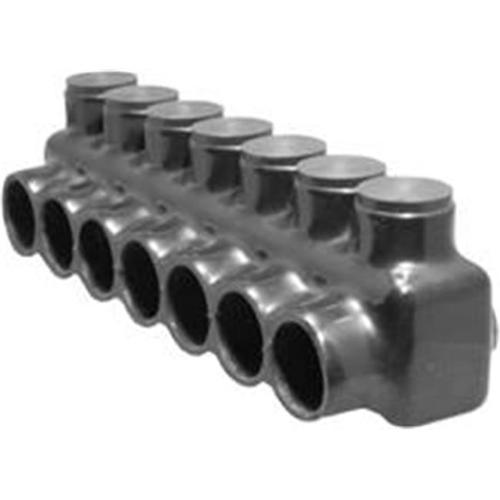 Black Insulated Multi-Cable Connector - Single Entry 7 Ports 350 - 6