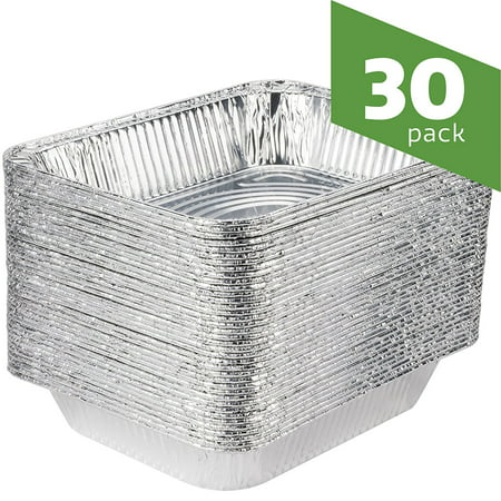 Aluminum Foil Steam Table Pans, Half Size Deep, 9x13 Pans (30 -