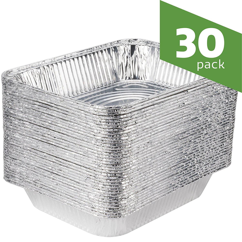Aluminum Foil Steam Table Pans, Half Size Deep, 9x13 Pans (30 Pack)
