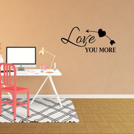 Love You More Vinyl Wall Decal Quote Lettering Family Words Graphics Home Decor Wedding Gift Art Bedroom Nursery Room Sticker XJ535