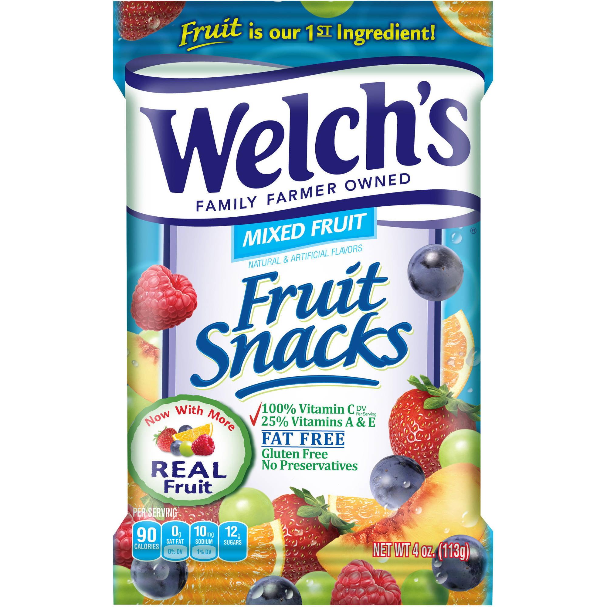 welch's fruit snacks, mixed fruit, 4 oz - walmart