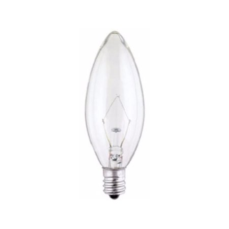 Westinghouse 0368400, 60 Watt, 130 Volt Clear Incandescent B10 Light Bulb, 2500 Hour 610 Lumen (60 Watts Type B)