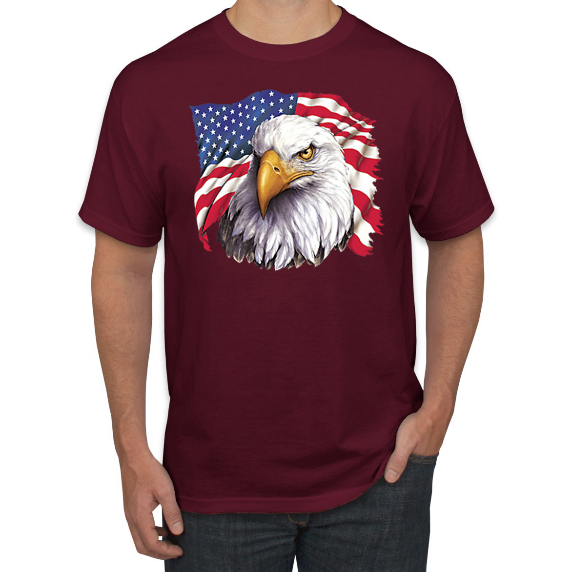Mens Fourth of July Eagle Cotton Casual Tank Tops Graphics T-Shirts Tee