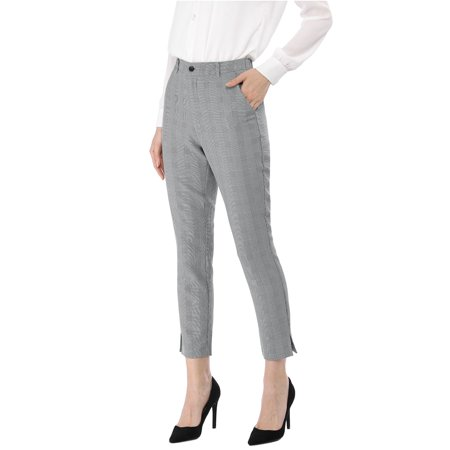 Plaid Wool Pants - Unique Bargains Women's High Waisted Office Work Casual Ankle Plaid Pants (Size M / 10) Black