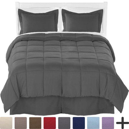 - Queen Comforter Set + Sheet Set + Bed Skirt - Premium Ultra-Soft Brushed Microfiber (Comforter Set: Grey, Sheet Set: White, Bed Skirt: Grey)
