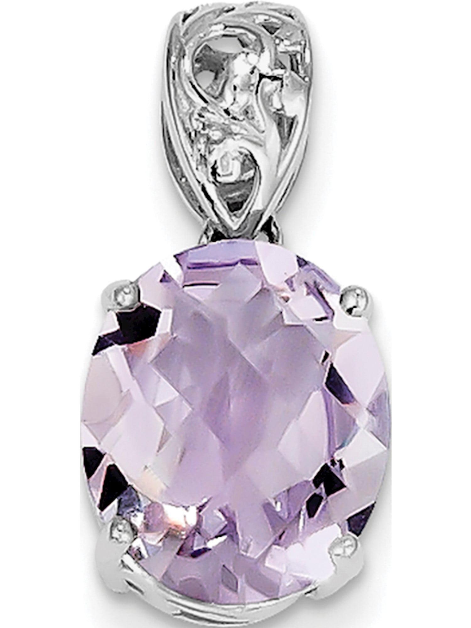 Best Designer Jewelry Sterling Silver Rhodium-plated Diamond /& Pink Quartz Pendant