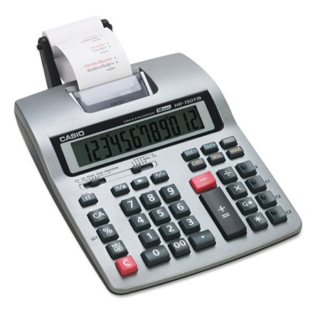 Casio HR-150TM Two-Color Printing Calculator, Black/Red Print, 2.4