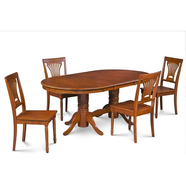 M&D Furniture SOME5-SBR-W 5 Piece dining room set table with a butterfly leaf and 4 dining chairs in Saddle Brown finish