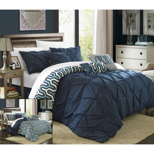 Elegant 11-Piece Trefort Oversized Overfilled Pleated Pintuck Reversible Bed in a Bag Comforter Set with Sheet Set