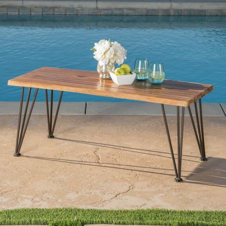 Zenith Outdoor Industrial Coffee Table, Teak Finish, Rustic (Outdoor Teak High Bar Table)