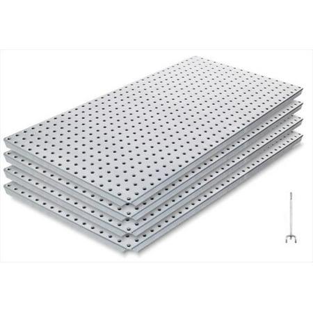 - Alligator Board ALGBRD16X32GALVKIT Metal Pegboard Panel Kit with Frange/10 Hooks/Gloves - Pack of 4