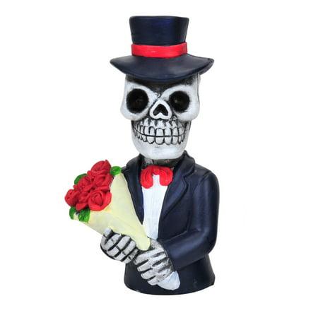 Skeleton Figure (Day of the Dead Skeleton Bouquet of Roses Resin Figure 6