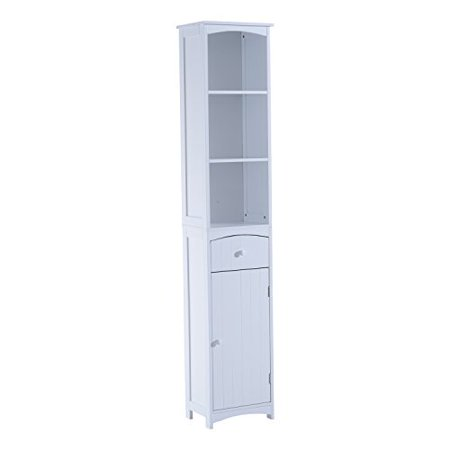 "Anself 67"" Modern Country Compact Free Standing Bathroom Storage Cupboard Cabinet - White"