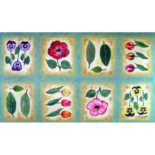 Custom Printed Rugs Botanical Flower Tiles Doormat