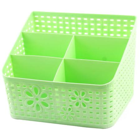 Unique BargainsOffice Desktop Plastic Hollow Out 5 Compartments Jewelry Sundries Storage Box