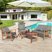 Costway 4PCS Wooden Patio Furniture Set Table Sofa Chair Cushioned Garden NEW
