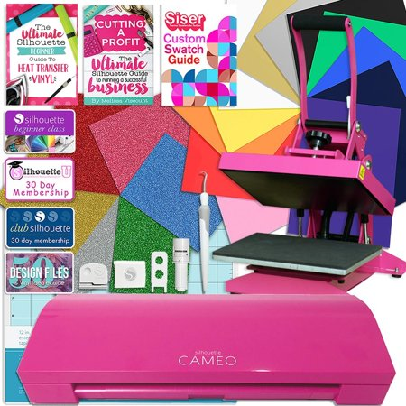 Silhouette Pink Cameo 3 Bluetooth Heat Press T-Shirt Bundle with Pink Heat Press, and More