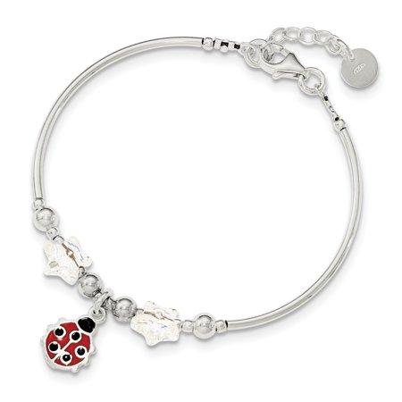 Childrens Enamel Ladybug - Roy Rose Jewelry Sterling Silver Polished Childrens Enamel Ladybug Stars Swarovski Bracelet 6'' length