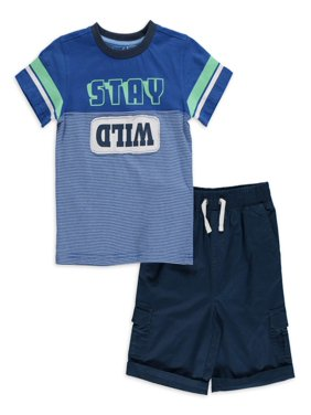 Freestyle Boys Stay Wild Short Sleeve T-Shirt & Pull On Cargo Shorts, 2-Piece Outfit Set, Sizes 4-7