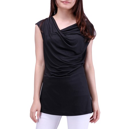 HDE Womens Plus Size Cowl Neck Top Short Sleeve Soft Stretch Tank Top Blouse (Black, 2X)