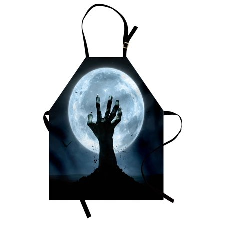 Halloween Apron Realistic Zombie Earth Soil Full Moon Bat Horror Story October Twilight Themed, Unisex Kitchen Bib Apron with Adjustable Neck for Cooking Baking Gardening, Blue Black, by Ambesonne for $<!---->