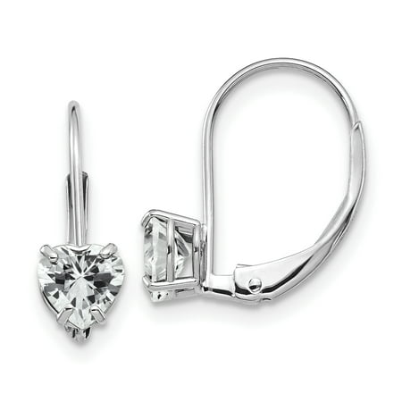 14K White Gold 5mm Heart Cubic Zirconia Leverback Dangle Earrings (White Gold Cz Leverback Earrings)