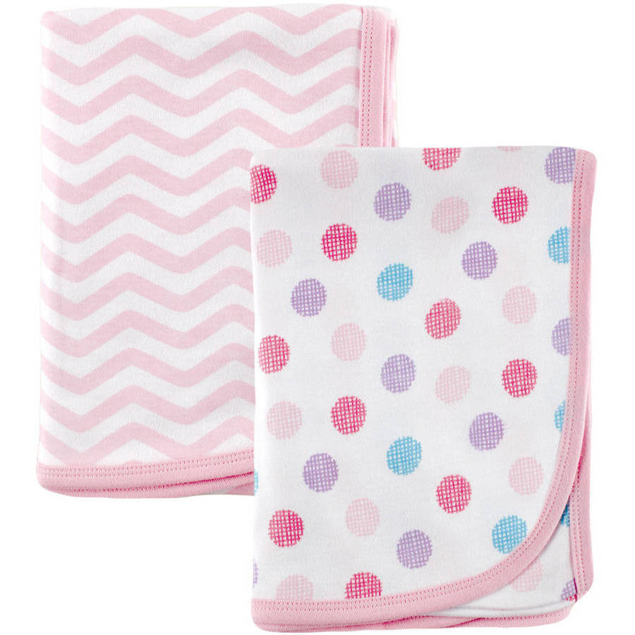 Luvable Friends Interlock Receiving Blanket, 2pk, Pink