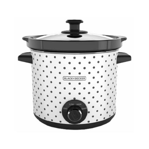 Applica/Spectrum Brands SC1004D Slow Cooker, White With Dot Case, 4-Qts.