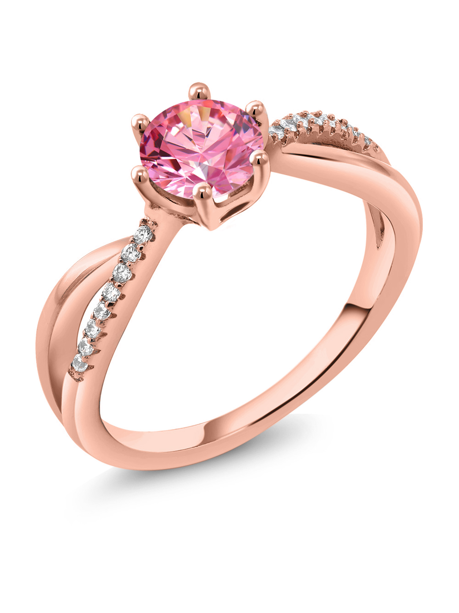 0.84 Ct Fancy Pink 925 Rose Gold Plated Silver Ring Made With Swarovski Zirconia