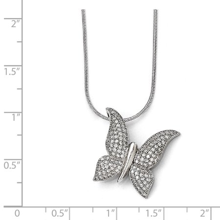 925 Sterling Silver Cubic Zirconia Cz Butterfly Chain Necklace Pendant Charm Animals/insect Fine Jewelry Gifts For Women For Her - image 1 of 8