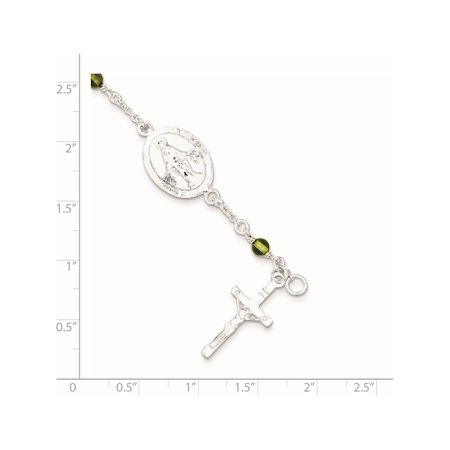 Argent 925 et p?ridot poli Rosaire pour enfants Bracelet - image 1 de 2
