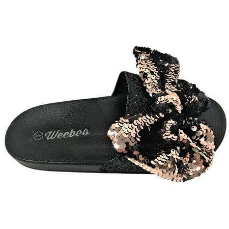 a17e51bb010bc Weboo - Kelly-01 Open Toe Slides Bow Sequin Glitter Sparkle Flip ...
