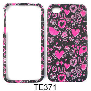 Snap-On Protector Case for Apple iPhone 4 / 4S (Pink Hearts on Black)