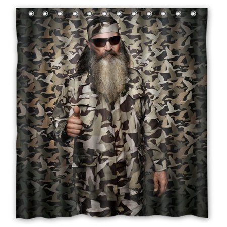 DEYOU Funny Duck Dynasty Willie Robertson Camouflage Shower Curtain Polyester Fabric Bathroom Shower Curtain Size 66x72 inches