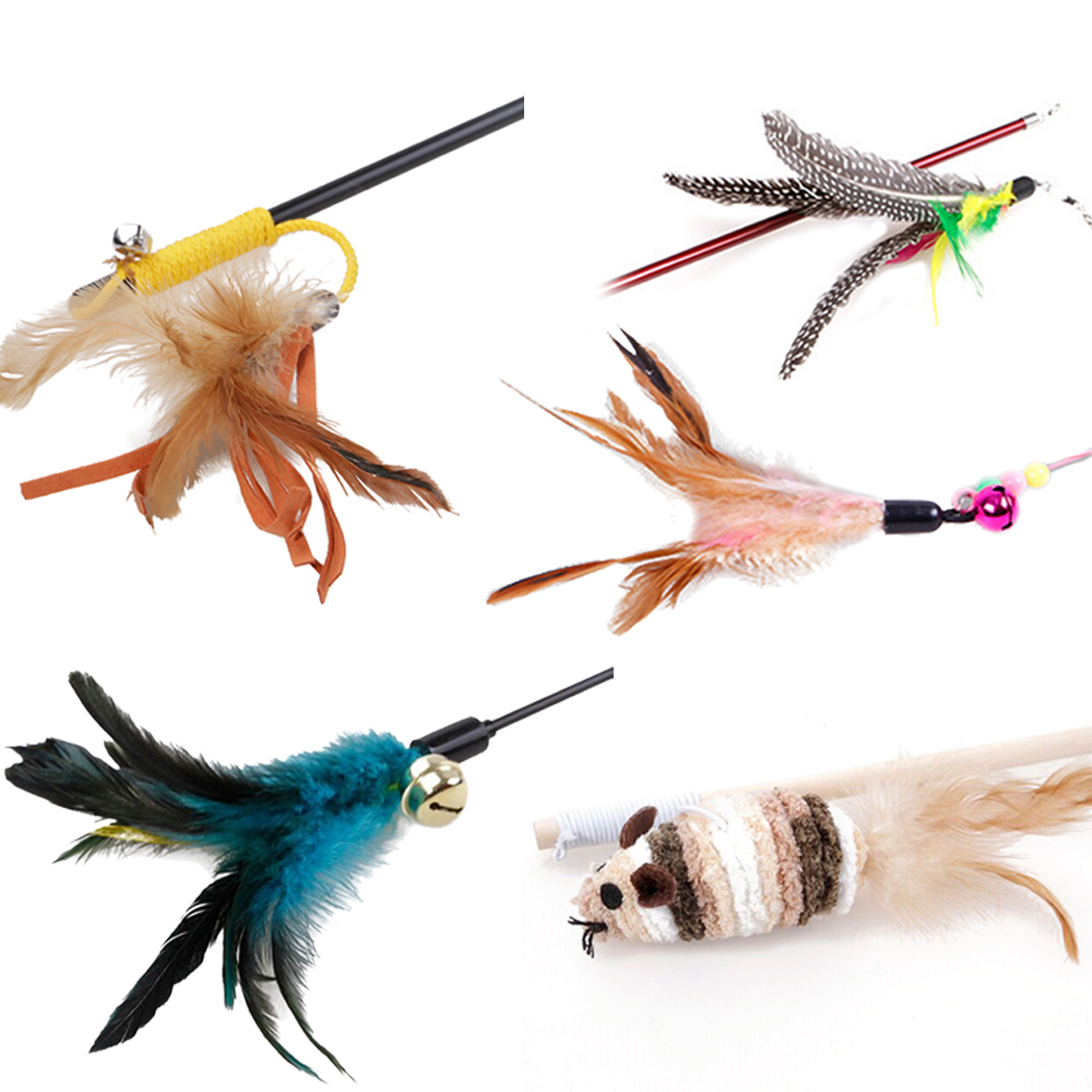 5 Pack Feather Cat Toy,Legendog Soft Furry Interactive Cat Teaser Wand Rob Toy for Cats Kittens Children by Legendog