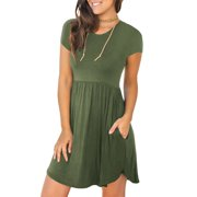 Short Sleeved Women Casual Simple Casual Day Dress with Pocket